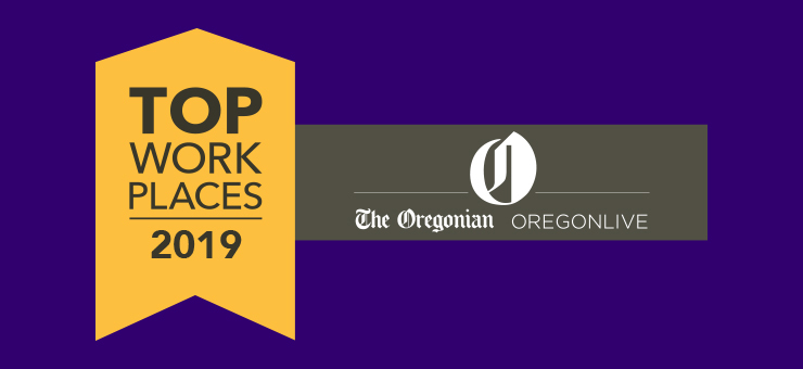 Purple banner featuring Top workplaces 2019 logo.