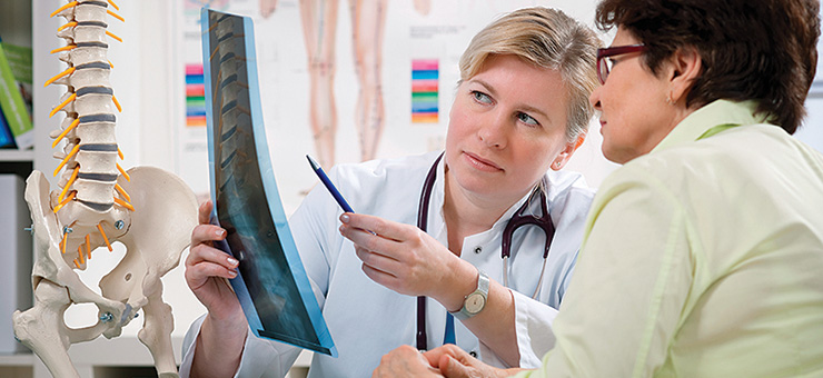 Spine patient and doctor