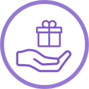 Make a donation icon, hand with gift.