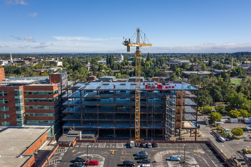 Building A expansion — steel structure complete