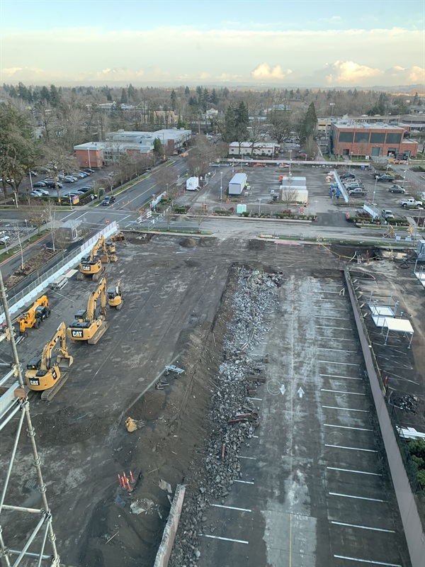 Demolition of the emergency department's parking lot