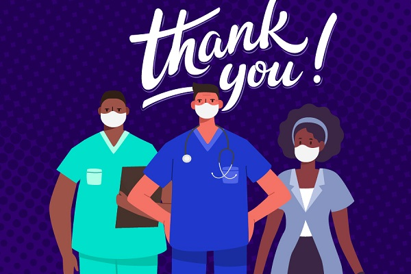 Cartoon image of health care workers saying Thank You.