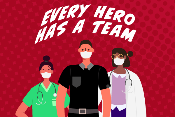 Health care workers standing like superheroes