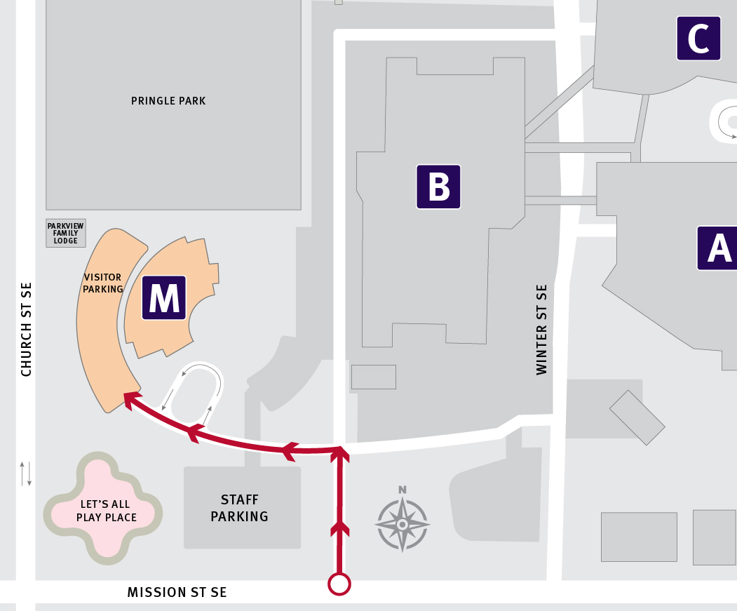 Map of driving directions to the Building M entrance